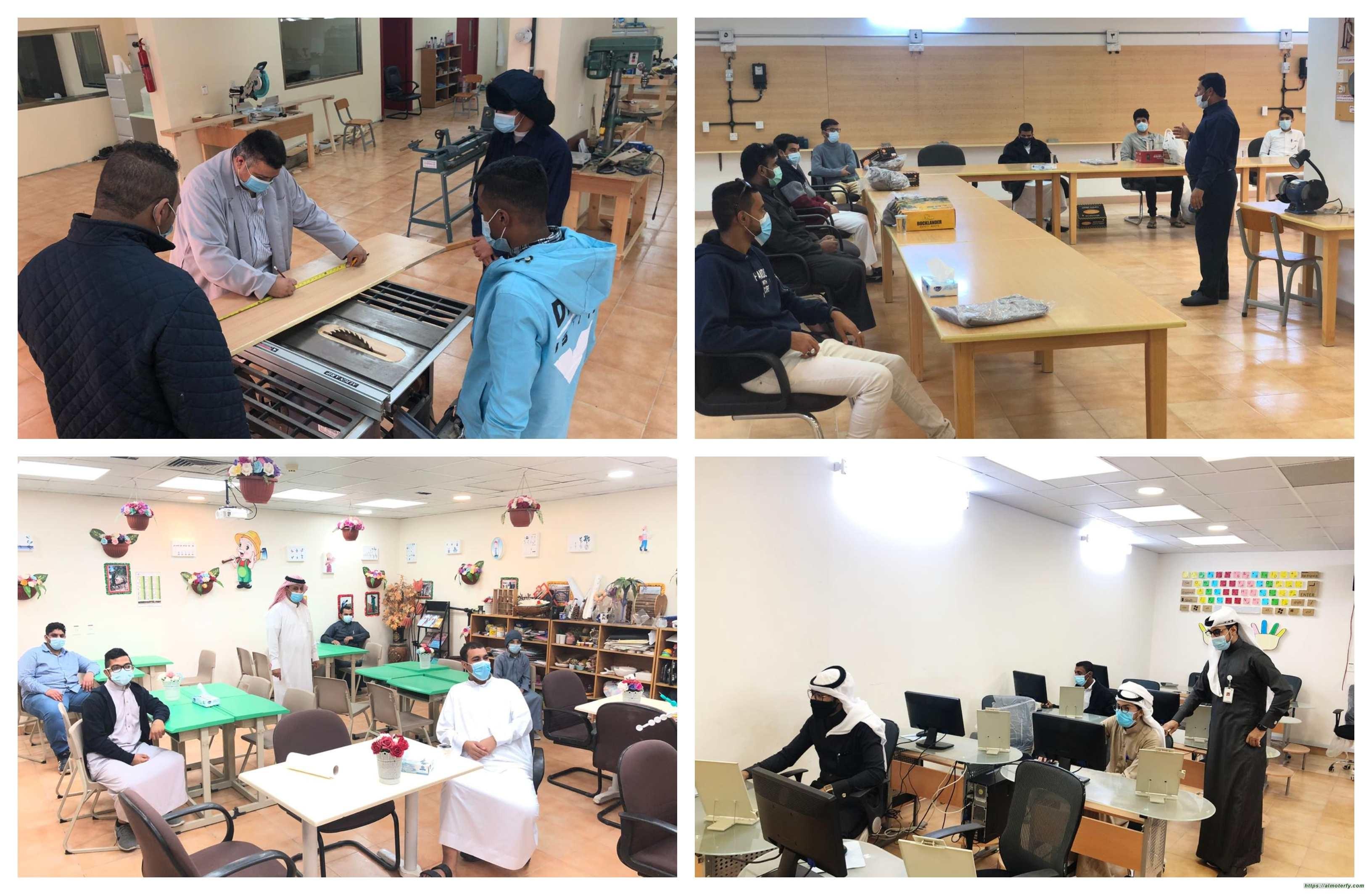 طلاب القسم المهني بشامل الاحساء يبدأون التدريب وسط الاحترازات الوقائية