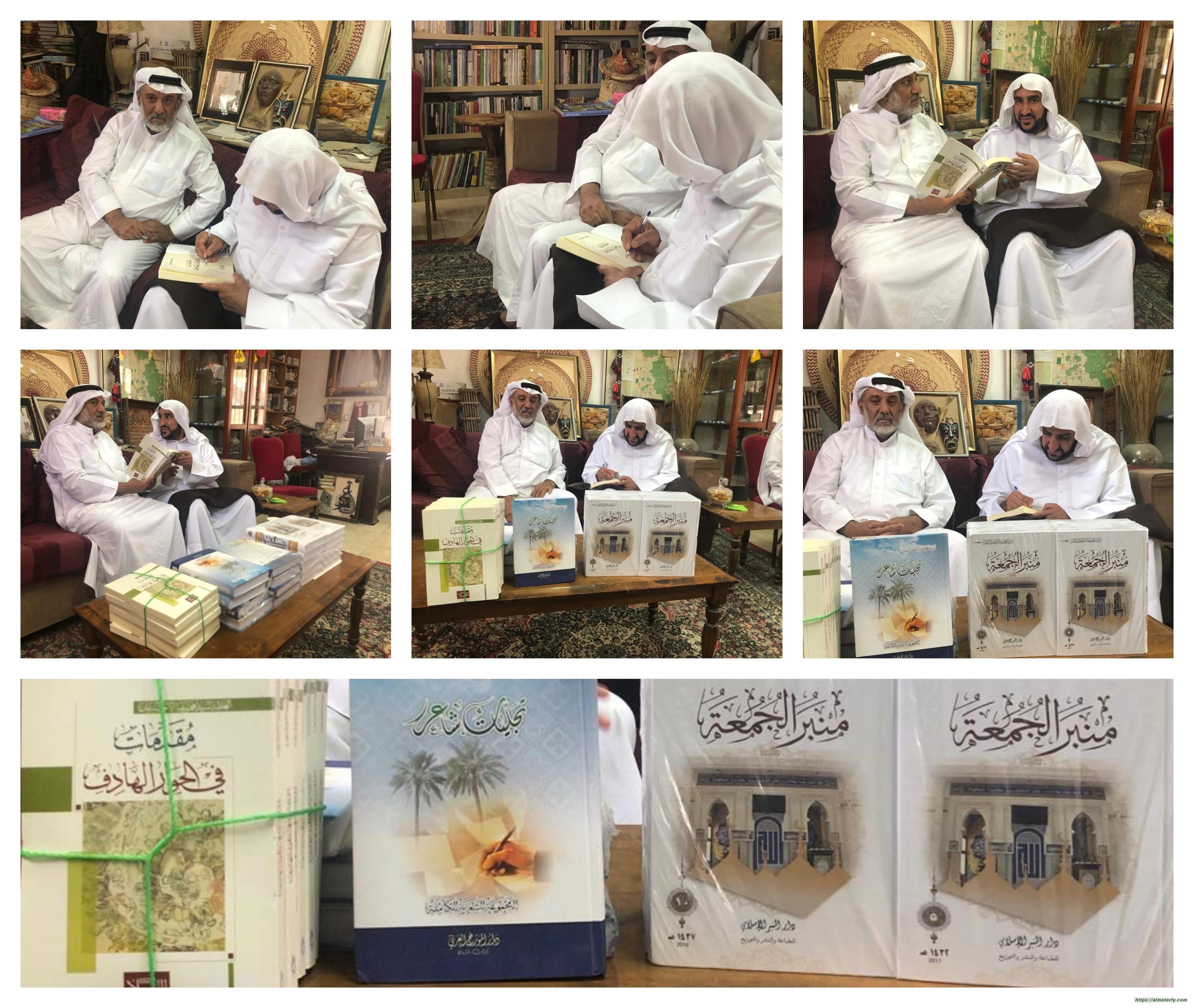 """سماحة العلامة اية الله السيد """"ابا عدنان """" يزور المهندس عبدالله عبدالمحسن الشايب ويقدم له نسخ من مؤلفاته بالاضافة الى كتابه الجديد"""