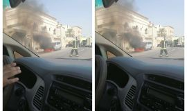 اندلع حريق في سيارة عائلية متوقفة أمام عمارة سكنية في حي الملك فهد بالهفوف